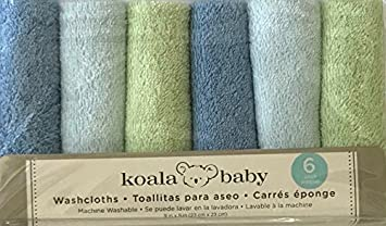 6 Pack Koala Baby Boys Blue and Green Baby Washcloths Facecloths