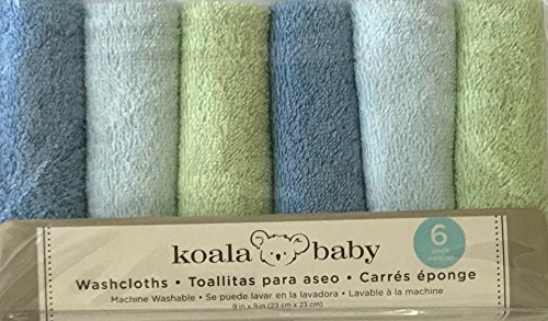 6 Pack Koala Baby Boys Blue and Green Baby Washcloths Facecloths by Koala Baby