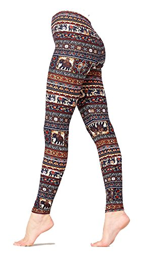 Conceited Premium Ultra Soft Leggings Printed - High Waist - Regular and Plus Size - 39 New Designs (Small/Medium, Elephants Navy Brown 1017)