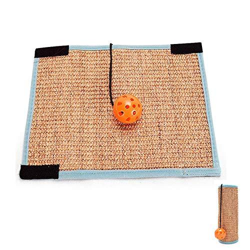 (Klong Doubleside Usable Scratcher Pad Cat Scratching Mat with Ring Bell Ball Natural Sisal Furniture Protection (Cat Scratching Mat-Sisal))