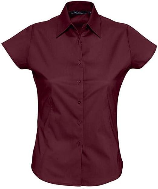ATELIER DEL RICAMO - Camisa Deportiva - para Mujer Violeta Burdeos: Amazon.es: Ropa y accesorios