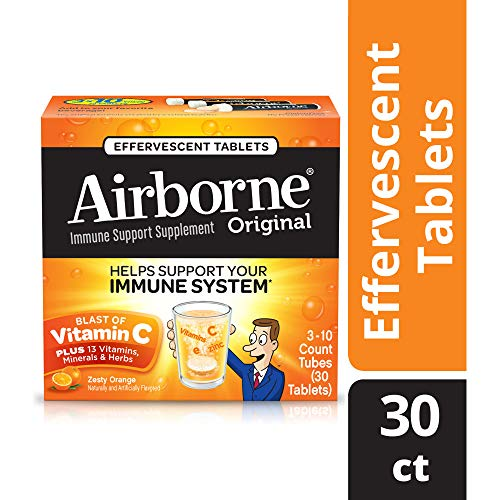 - Airborne Vitamin C 1000mg Immune Support Supplement, Effervescent Formula, Orange, 30 Count