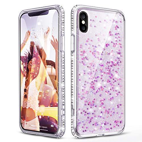 OCYCLONE [Star Series] iPhone X Case, iPhone Xs Case for Girls Women, Cute Pretty Glitter Diamond Rhinestone Bumper Slim Fit Girly Protective Star Phone Case for iPhone X/iPhone Xs [5.8 Inch]