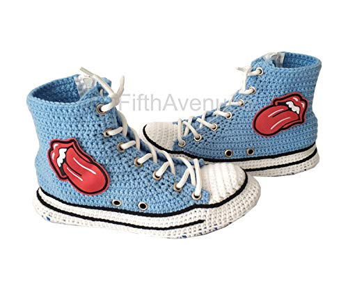 - Red Lips And Tongue Embroidery Patch Sexy Converse Style Home Slippers, Sexy Gift For Women And Men, Sexy Emoji Slippers, Love Hot Slipper