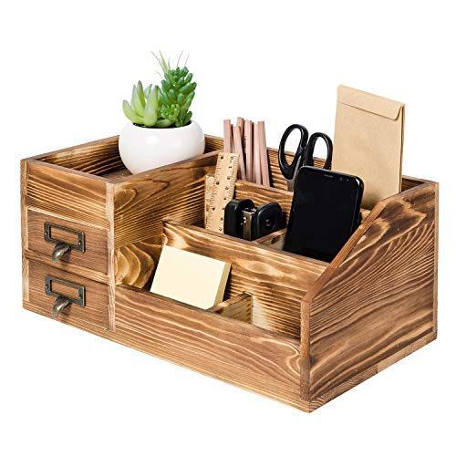 Liry Products Rustic Wooden Desktop Organizer Office Supplies Brown Tabletop Storage Cabinet Stepped Rack Multiple Compartments 2 Tier Drawers Makeup Accessory Jewelry Sorter Display Box Home Office