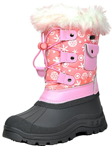 DREAM PAIRS Little Kid KSNOW Pink Isulated Waterproof Snow Boots - 1 M US Little - Winter Pink Snow Boots