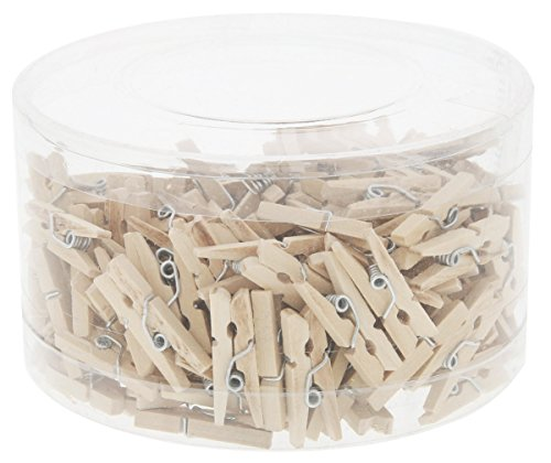 Mini Wooden Clothespins - 200 Pieces Pegs with Natural Wood Finish – Ideal for Crafts, Photo Clips, Home Decoration, and More, Tan Color - .9 Inches in Length