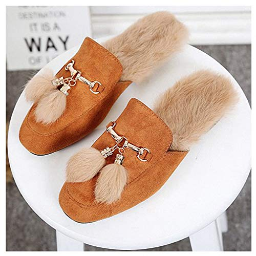 - Womens Slippers Fashion Women Flat Shoes Suede Tassel Plush Mules Slip on Fur Platform Flat Slippers Casual Slids Retro British Style Camel 5