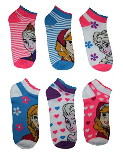 Disney Frozen Juniors/Womens' 6 Pack Ruffled Assorted No Show Socks (Sock Size: 9-11, Stripe/Flower/Heart) ()
