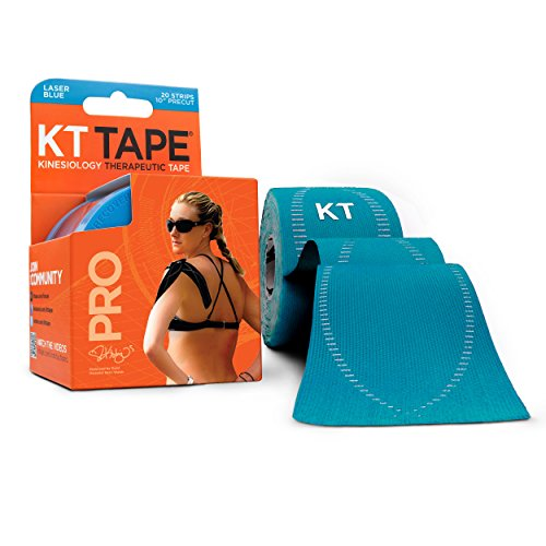 (KT Tape Pro Kinesiology Therapeutic Sports Tape, 20 Precut 10 inch Strips, Laser Blue, Latex Free, Water Resistance, Pro & Olympic Choice)