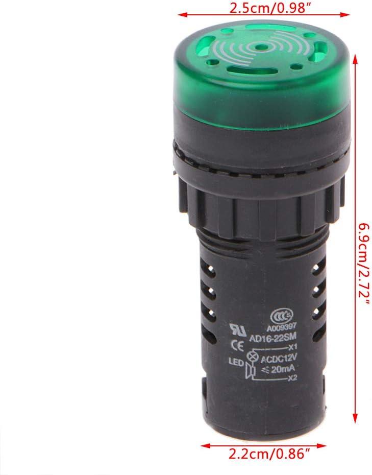 FXCO AD16-22SM LED-Blitzalarmanzeige Signallampe Mit Summer 12V Rot Gr/ün Gelb Summer Lampe