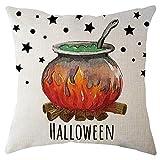 Hongxin Halloween Pillow Case,1PC Cotton Linen Pumpkin Pattern Square Cushion Cover Pillow Case Home Decor (D, 45cm45cm)