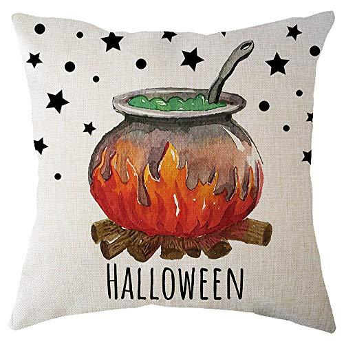 Newest Arrivals! Fulijie Halloween Pumpkin Pillowcase ❤ Stylish Cute Print Cotton Linen Cushion Cover Square Pillow Case Home Decor 18 × 18 Inch -