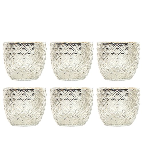 Hosley Set of 6 -Mercury Silver Glass Votive / Tea light Candle Holder 2.75