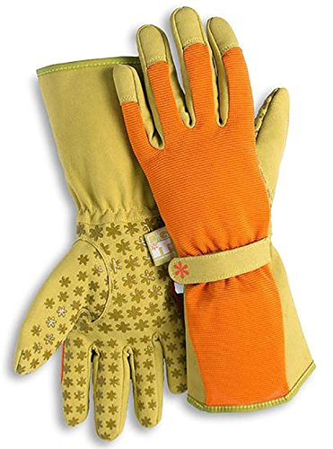 Dig It High 5 Handwear Innovative Womens High Utility Garden Gloves with Nail Protection, Extended Forearm Protection, Water Resistant, Durable Reinforced, X-Large, Orange/Green