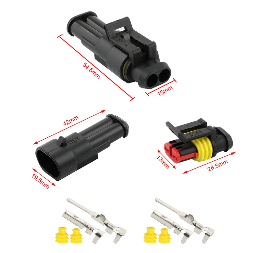 2 Pin 5 Set, 3 Pin 5 Set, 4 Pin 5 Set for Motorcycle Auto Truck Boat FULARR 15 Set Professional Car Auto Waterproof Electrical Wire Connectors Terminal Plug Socket Kit