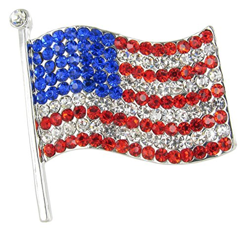 Large Silver American Flag Brooch Pin - Red, Clear, and Royal Blue Crystals