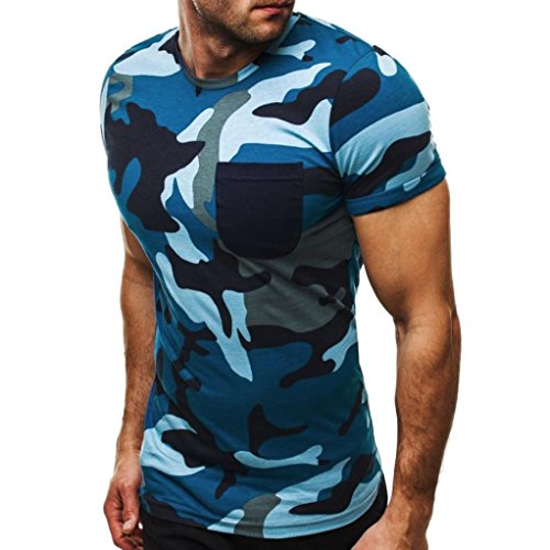 Realdo Men's Camouflage T-Shirt, Slim Short Sleeve O Neck Splice (Weiss Blue Rhinestone)