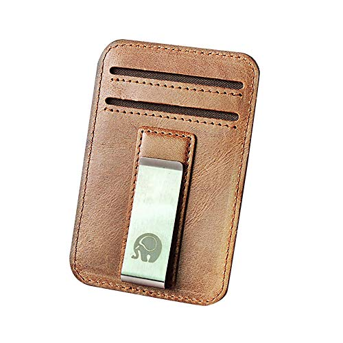 POQOQ Wallets Pocket Gifts Slim Minimalist Front Pocket Hook Blocking Leather Brown