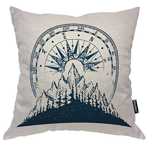 Moslion Compass Pillow Case Vintage Nature Mountain Forest Adventure Trees Nautical Compass Throw Pillow Cover Cotton Linen For Home Sofa Decorative Square Cushion 24x24 Inch Buy Online In Aruba At Aruba Desertcart Com Productid