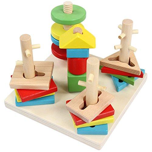 Infantastic Steckspielzeug zur Frühförderung von Feinmotorik, Form- und Farberkennung, Augen-Hand-Koordination und Haptik inkl. Schraub-Stab