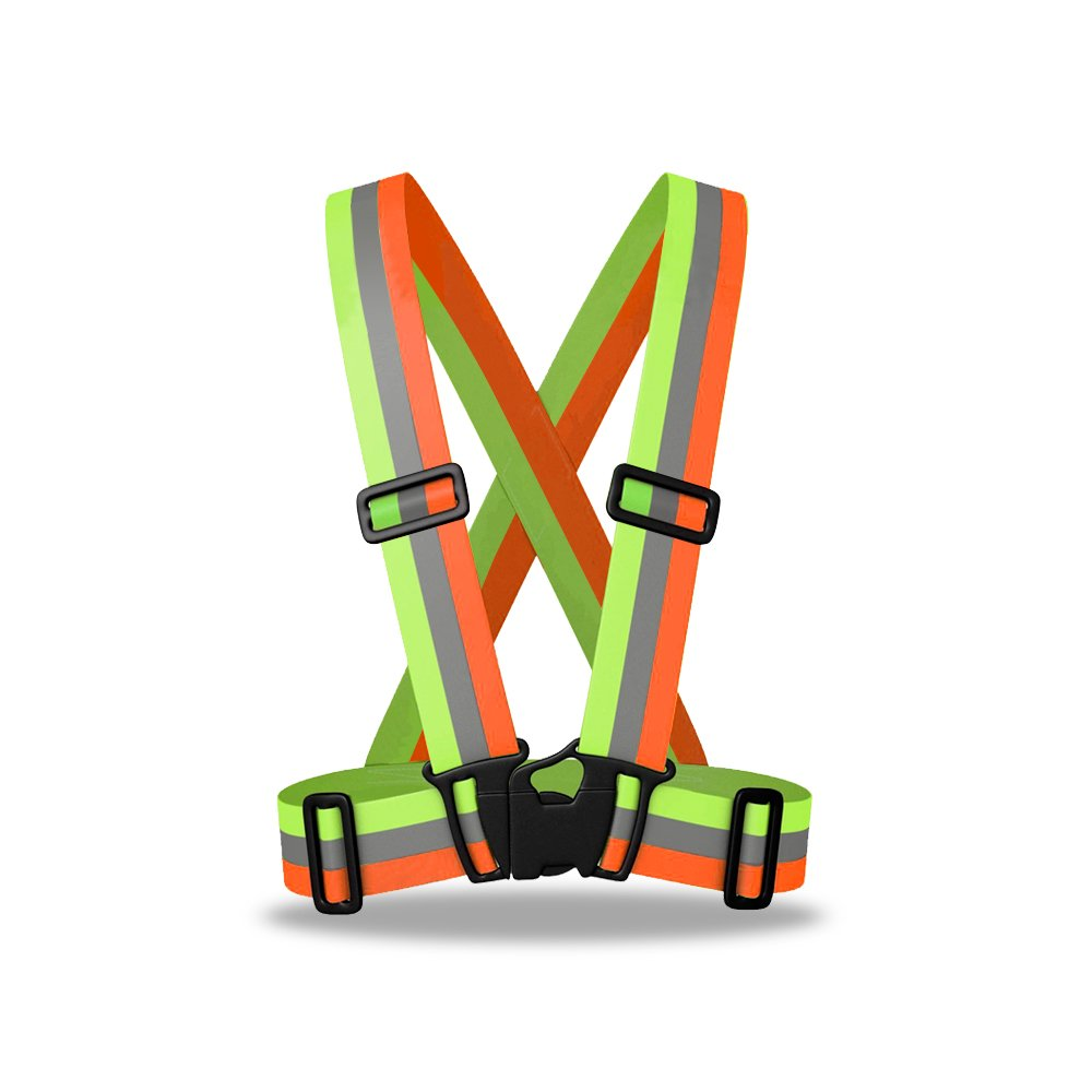 ZOJO Reflective Vest | Lightweight, Adjustable & Elastic | Safety & High Visibility for Running, Jogging, Walking, Cycling | Fits over Outdoor Clothing (Pack of 10, Mixture Neon Orange & Yellow) by zojo (Image #2)