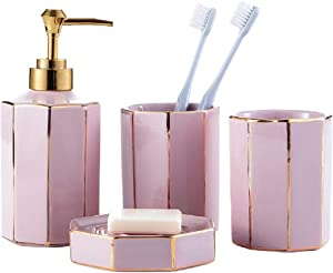 WPM WORLD PRODUCTS MART 4 Piece Ceramic Bathroom Accessories Set - Blush Rose Pink Gold - Complete Bath Decor Kit Includes Designer Soap and Lotion Dispenser - Cup - Tumbler - Soap Dish (DESIGN2)