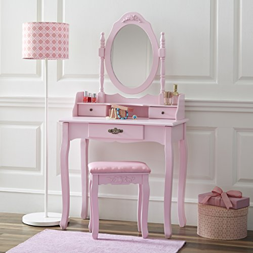 Fineboard Vanity Table Set Wooden Dressing Table with Single Mirror, Pink