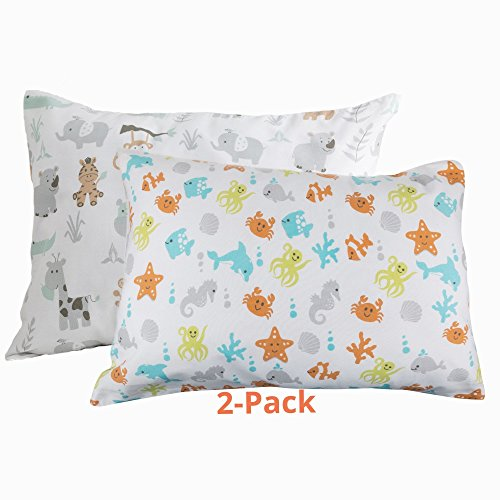 BB MY BEST BUDDY Toddler Pillowcase- Safari and Ocean Animals - 2 PACK - 100% cotton - Ocean and Safari Animals for your kids - 13 x 18 shrinks to fit -envelope style closure - designed in USA