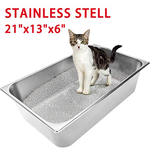 Stainless Steel Large Cat Litter Box – Non Stick, Durable and Smooth Surface Easy to Clean, Never Abosorbs Odor, Stains…