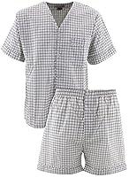 Comfort Zone Men's Gray Checks Short Pajamas