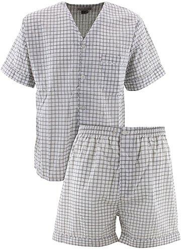 Set Pj Check (Comfort Zone Men's Gray Checks Short Pajamas M)