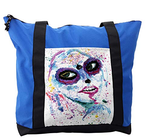Ambesonne Ethnic Shoulder Bag, Halloween Lady Make Up, Durable with Zipper ()