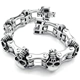 AmDxD Jewelry Stainless Steel Link Bracelets for Mens Skull Silver