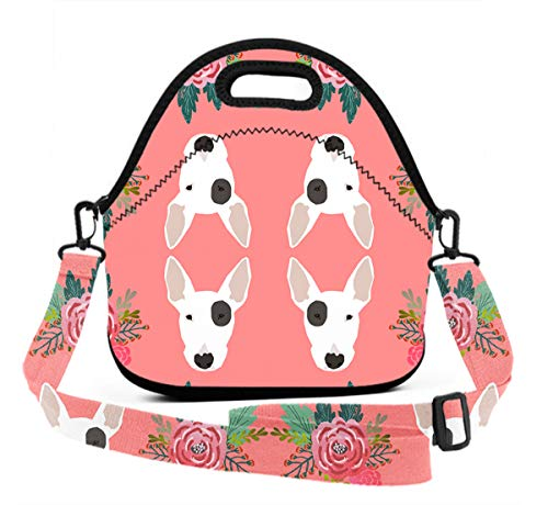 Lunch Box With Meal Prep Containers/Insulated Lunch Bag Bull Terrier Floral Flowers Bull Pattern Food Containers Lunch Box Bag For Meal Prep, Leak-Proof, Quick And Simple Organization ()