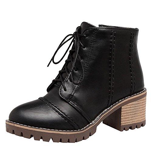 Mee Shoes Damen chunky heels Plateau mit Schnüre Stiefel Schwarz