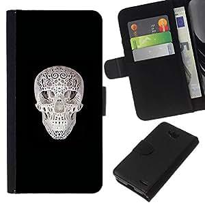 All Phone Most Case / Oferta Especial Cáscara Funda de cuero Monedero Cubierta de proteccion Caso / Wallet Case for LG OPTIMUS L90 // Printed Skull