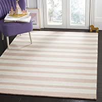 Safavieh Kids Collection SFK915P Handmade Pink Stripe Wool Area Rug (5 x 7)