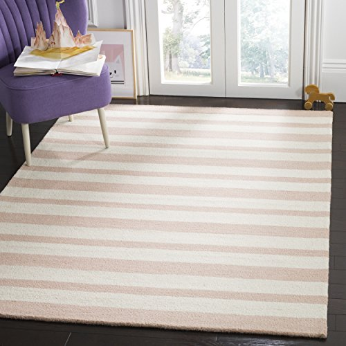 Safavieh Kids Collection SFK915P Handmade Pink Stripe Wool Area Rug (5' x 7') (Pink Luxe Stripe)