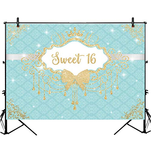 Allenjoy 7X5ft Breakfast Bowknot Turquoise Co Blue Girls Sweet 16 Birthday Party Backdrop Golden Crown Fringes Dessert Candy Cake Table Decors Decorations Banner Supplies Photo Shoot Booth -