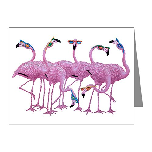 Note Card Cool Flamingos with Sunglasses