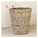 Round Rattan Wicker Wastepaper Bin Basket