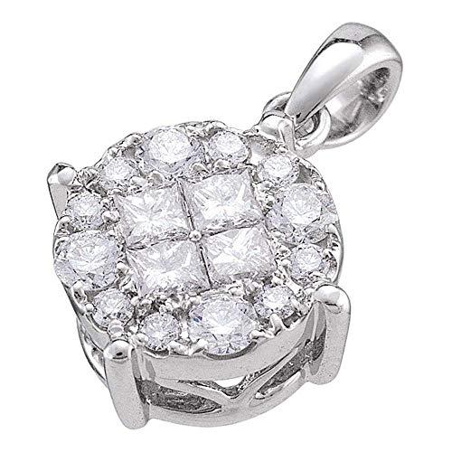Jawa Jewelers 14kt White Gold Womens Princess Round Diamond Soliel Cluster Pendant 1/2 Cttw