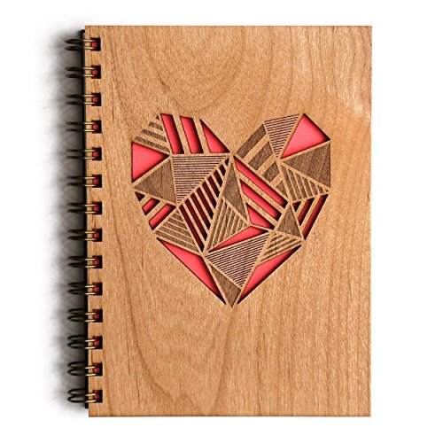 Patchwork Heart Laser Cut Wood Journal (Notebook / Birthday Gift / Gratitude Journal / Handmade)