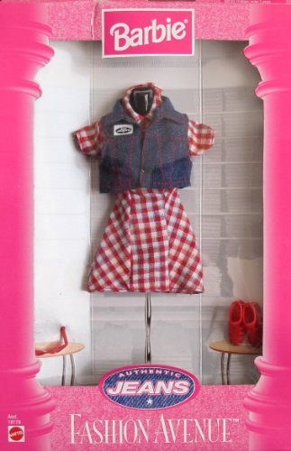 BARBIE Fashion Avenue AUTHENTIC JEANS FASHIONS Collection w DRESS, DENIM VEST & More (1997) by Barbie