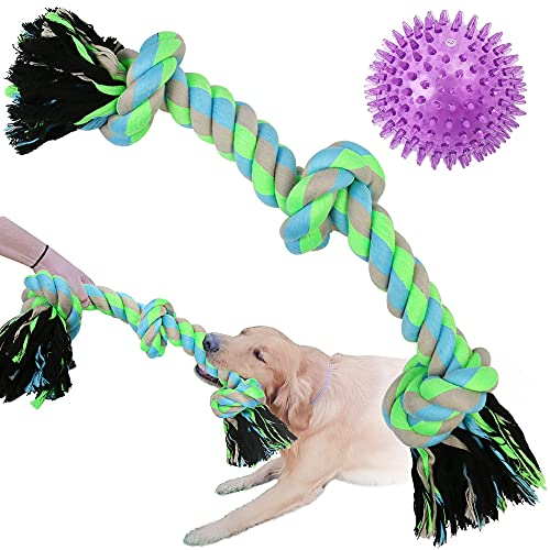 PrimePets Dog Rope Toys for Aggressive Chewers Large Breeds, Tough Teething Ball Chew Toys for Large Dogs, Durable Interactive Tug of War Dog Toy, Pack of 2