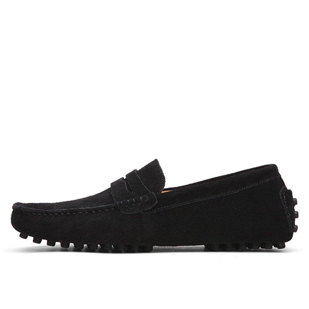Conducción de los Hombres Penny Loafers Suede Cuero Genuino Casual Mocasines Slip-On Boat Shoes 49 EU Black