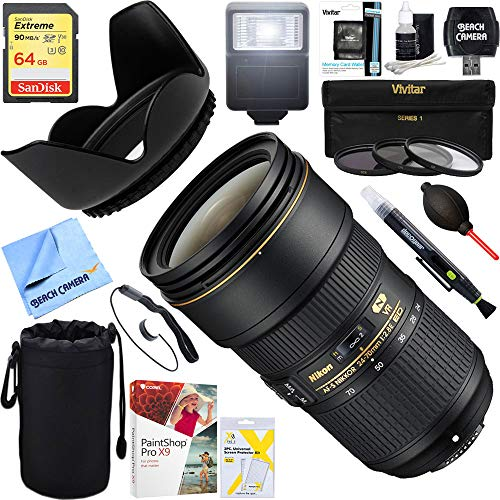 Nikon (20052) 24-70mm f/2.8E ED VR AF-S NIKKOR Zoom Lens DSLR Cameras + 64GB Ultimate Filter & Flash Photography Bundle (Nikkor 24 70mm F 2-8 G Ed)