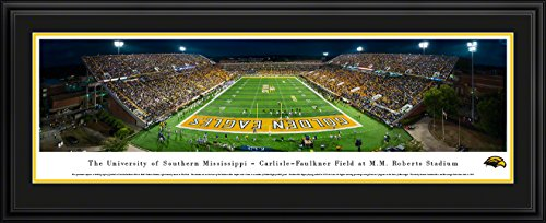 Southern Mississippi Football - Blakeway Panoramas College Sports Posters with Deluxe Frame (Golden Southern Framed Eagles Mississippi)