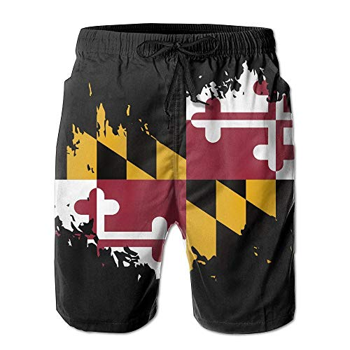 (EEMNJIHH Beach Surfers Maryland State Flag Summer Casual Quick-Dry Board Shorts Swim Trunks Drawstring Striped Side Pockets White)